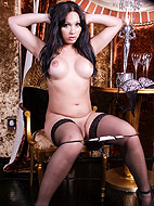 Holly table and chair. Brunette beauty Holly strips & plays